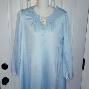 VANITY FAIR blue gown nightgown satin M